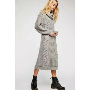 Free People Perfect Cable Cowl Neck Sweater Dress